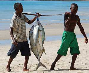 Fishermen on the beach in Madagascar