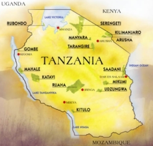 Map of Tanzania safari parks