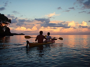 Kayaking at sunset in Madagascar
