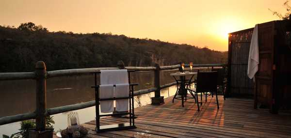Serena Mivumo River Lodge private viewing deck and plunge pool