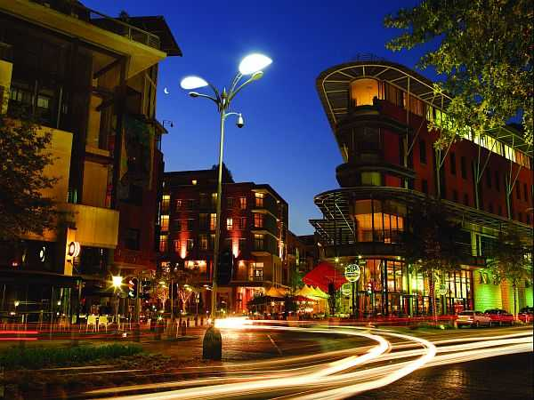 Melrose Arch at night - Johannesburg is an exciting city