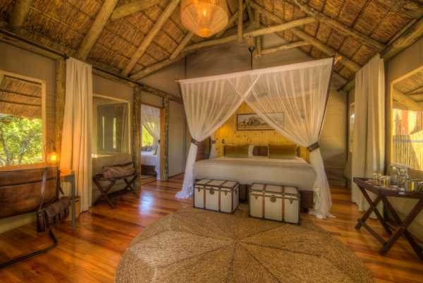 Dinaka family accommodation in Central Kalahari Game Reserve