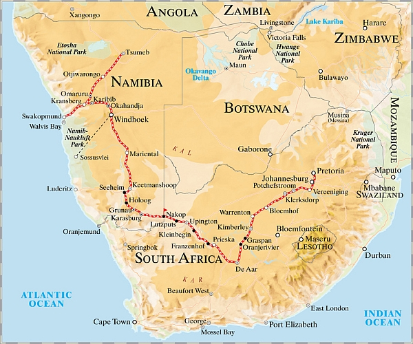 Rovos Rail Luxury Namibia journey map
