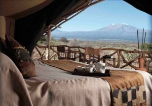 Satao Elerai Camp tent with a view of Kilimanjaro