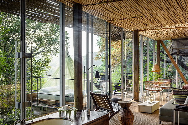 Singita Sweni Lodge accommodation with star bed