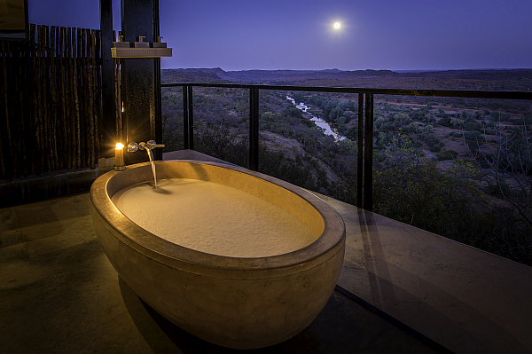 The Outpost luxury accommodation bath with view