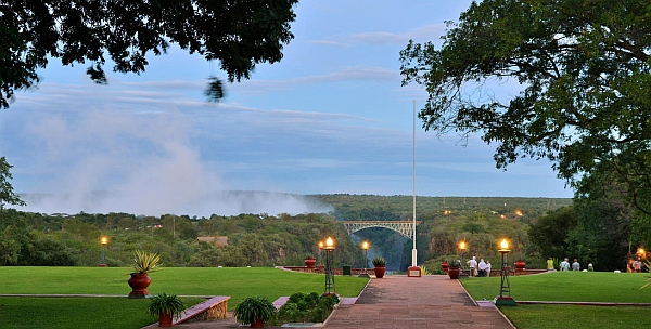 Victoria Falls Hotel - so close you can see the spray from Victoria Falls