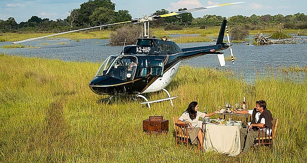 Romantic safari adventures in Botswana by helicopter